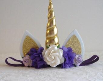 Purple and Gold Unicorn Headband - White - Ivory - First Birthday - 1st Birthday -  Baby Unicorn Headband - Girl - Gold