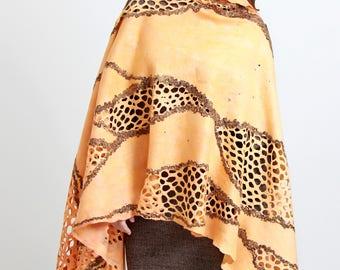 Felted shawl Creamy Felt light lace luxury all season open work scarf, Regina Doseth handmade in Lithuania EU