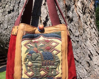 Burgundy suede and leather tapestry bag