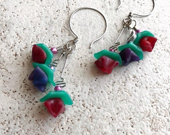 Spring Flowers dangle earring with handmade translucent flowers and handformed ear wires