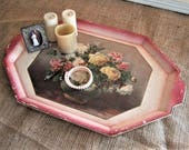 Vintage Floral Tray SHABBY 40's Made In Japan TRAY Pink Roses Floral Tray Decoupage Floral Tray
