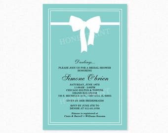 Breakfast at Tiffany's Bridal Shower Invitation, Bridal Shower Invitation, White Ribbon Bow, Teal Blue, Printable or Printed