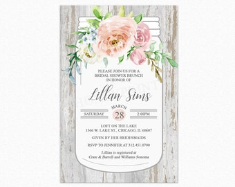 Country Mason Jar Floral Bridal Shower Invitation, Boho Chic Bridal Shower Invitations, Printable or Printed