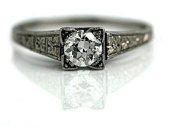 Solitaire Engagement Ring .50ctw Antique Solitaire Engagement Ring Platinum European Cut Diamond Dainty Diamond Ring Filigree Diamond Ring!