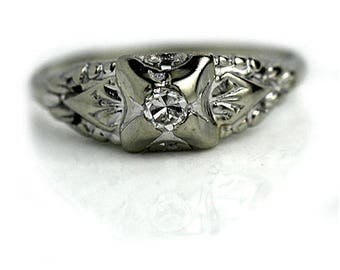 Dainty Engagement Ring Antique Petite Engagement Ring European Cut .12ctw 1930s Vintage Diamond Ring 18K White Gold Ring Simple Diamond Ring