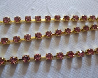 3mm Dusty Rose Pink Rhinestone Chain - Brass Setting - Glass Crystals