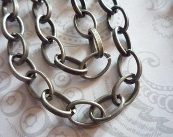 Antiqued Silver Oval Rolo Chain 6X10mm Smooth Links - 48 inches