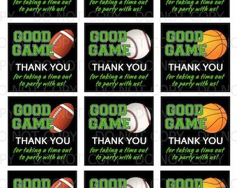 Printable DiY Sports Football Basketball Baseball Theme Favor Tags - INSTANT DOWNLOAD