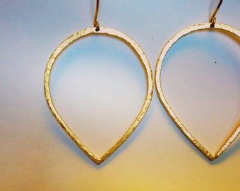 Brass Inverted Teardrop Earrings