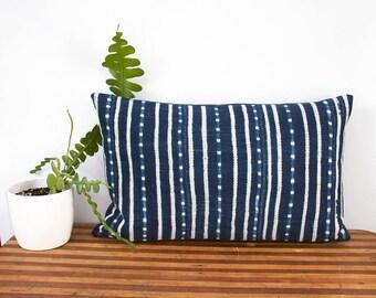 "Indigo Pillow Cover - Lumbar Pillow - West African Indigo - Burkina Faso - Hand Woven - 24"" x 14"" - Housewarming - Down Pillow Optional"