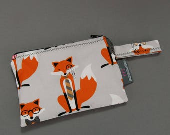 Grey Foxes Reusable Snack Bag, Litterless Lunch, Zippered Reusable Snack Bag, Back to School, Hipster Lunch Bag, Gifts Under 20