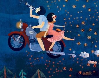 JAWA - art print // night motorcycling illustration // blue home decor