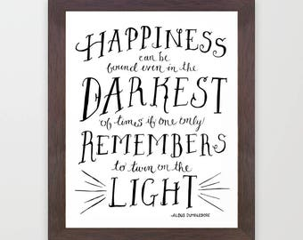 Happiness Dumbledore Quote Print Harry Potter Light instant digital printable download whimsical hand drawn type