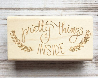 Packaging Rubber Stamp - Pretty Things Inside - Calligraphy Script Hand Lettered Gift Packaging