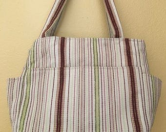 Katrina#1798, Large Striped Project Bag, Knitting Project Tote, Large Knitting Bag, Expanding Knitting Bag, Project Tote, Project Bag, Yarn