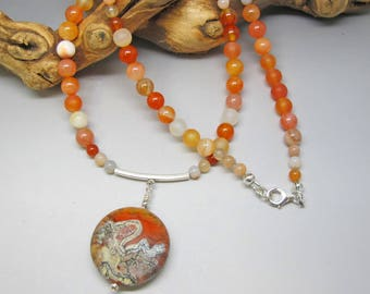 Lampwork and Carnelian Necklace