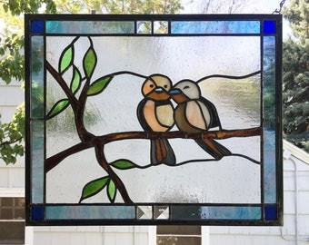 "Two Love Birds--12.5"" x 15.5""--Stained Glass Window Panel"