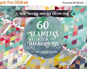 90% OFF Sale Digital paper Seamless Backgrounds - 60 Watercolor Triangles - Now with EPS Vector Files included
