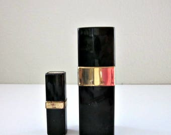 Two 1980s EMPTY Black and Gold Chanel No 5 Perfume Spray Bottles, Vanity Size 1.5 Oz. & Small Purse Size 1/5 Oz. - Chanel No. 5 Collectable
