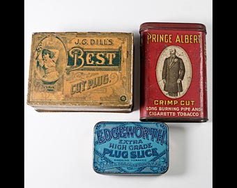 3 Smoking Tobacco Tins Edgeworth Plug Slice Dill's Best Prince Albert Flip Top