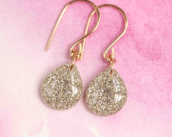 white glitter teardrop earrings on 14 karat gold fill ear wires