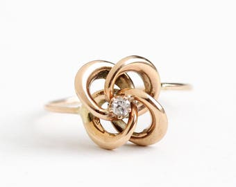 Sale - Antique 10k Rose Gold Diamond Victorian Love Knot Ring - Size 7 1/4 Late 1800s Fine Stick Pin Conversion Love & Friendship Jewelry