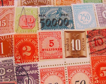 Numbers 50 Vintage Postage Stamps Numerical Antique Countdown Math Address Birthday Calendar Save the Date Revenue US Worldwide Philately