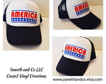 America Trucker Hat,Red White and Blue Trucker Hat,America hat with stars,July 4th Trucker Hat,Patriotic Trucker Hat,Memorial Day Truck Hat