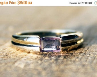 ON SALE Vintage Ladies Amethyst Ring Baguette Engagement White Yellow  Gold 0.34ct 9ct 9k | FREE Shipping | Size 0.5 / 7.5