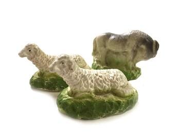 2 Nativity Chalkware Sheep and Donkey
