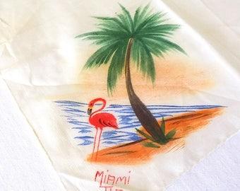 Miami, Florida, Pink Flamingo Handkerchief Retro Memento Something Old