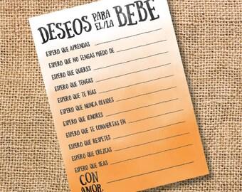Deseos para el bebé Baby Shower niña niño Anaranjado Wishes for Baby Ombre Naranja Spanish Archivo para Imprimir Juego INSTANT DOWNLOAD