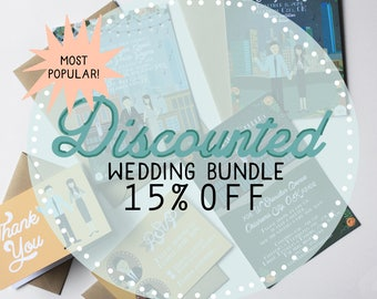 DISCOUNTED Bundle - Save the Date, Invite, RSVP, Map/Reception Card, and Thank You Note : Custom Illustrated