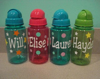 Kids water bottles with straws personalized for free great for party favors