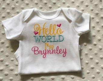 Baby Girl  Personalized Bodysuit ,  Hello World
