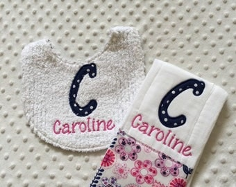 Baby Girl Personalized 2 Piece Gift Set  - Bib and Burp Cloth-Pink Navy Floral Dots