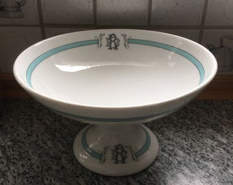 Antique French Country Porcelain Ironstone Serving Dish, Monogram Aqua or Teal Blue on White Romantic Cottage Chic, Paris Footed Compote