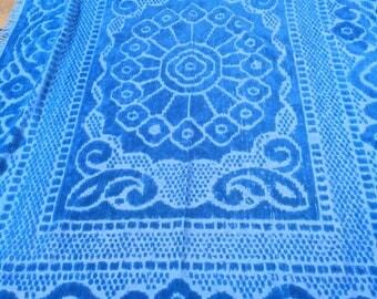 Chenille Bedspread Twin Peacock Blue