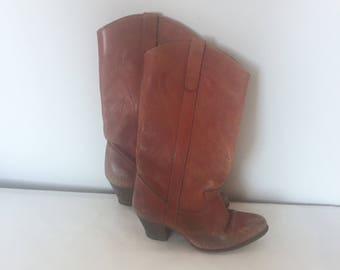 Size 6 1/2 Red Vintage 1970s High Heel Cowboy Boots