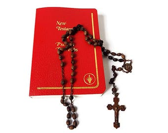Antique French Catholic Rosary with Wood Beads and Brass Crucifix /Vintage Rosary Devotional Beads