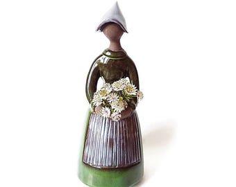 Vintage Handmade Swedish Lady Figurine/ Handmade Flower Holder Woman,  Large 1960s Jie Gantofta  Elsi Bourelius Sculpture