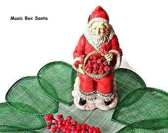 Vintage Santa Claus Musical Box/ Schmid Collectible Music Figurine/ Bisque Santa Musical Figurine Christmas Decor