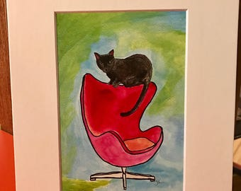 Archival matted art print of original of cat in midcentury chair series black cat ted chair mixed media