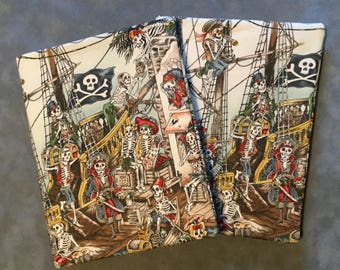 Pirate Skeletons  Quilted Refillable Journal Notebook