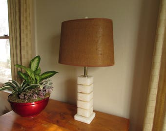 Vintage 1950s Alabaster Table Lamp with matching Finial