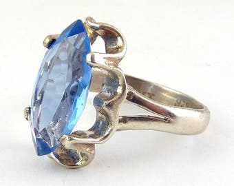Sterling Silver Blue Topaz Marquise Solitaire Ring, Sz. 10, Mexican