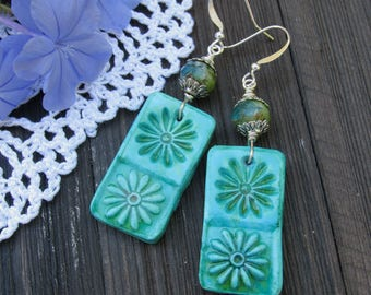 Summer Flower Turquoise Earrings, Polymer Clay Earrings,Handmade Earrings, Czech bead Earrings, Boho Earrings
