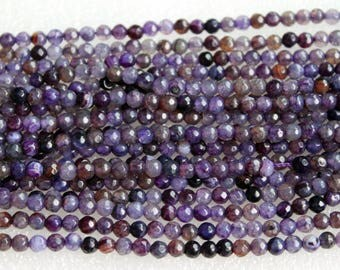 Beautiful Purple Agate Faceted Round Gemstone Beads 4mm