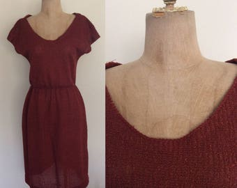 1970's Rust Colored Textured Dress Size Small Medium by Maeberry Vintage