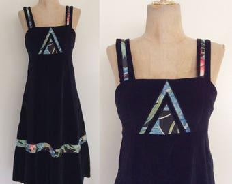 1970's Black Velvet Jumper Dress Size XS Petite by Maeberry Vintage